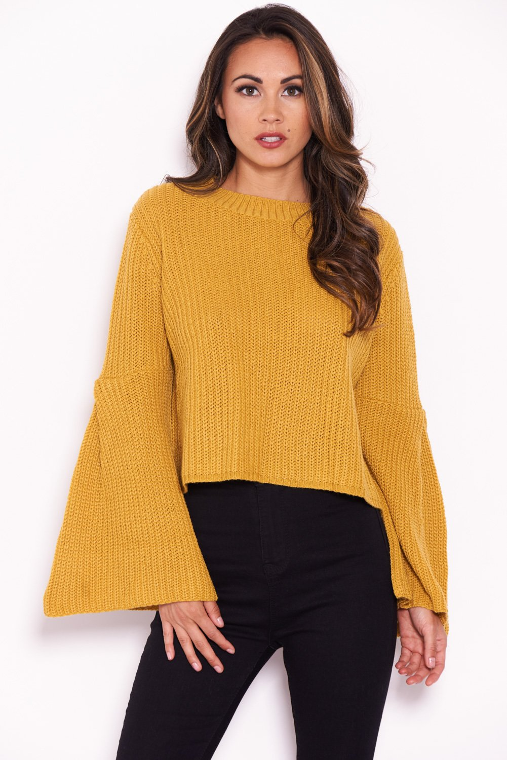 a799d3a75f5 AX Paris Womens Mustard Flare Sleeve Knitted Jumper Ladies Casual ...