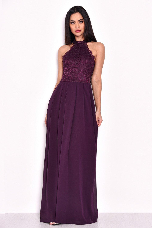 1338a48a89 AX Paris Womens Plum Maxi Dress With Lace Detail Ladies Party | eBay