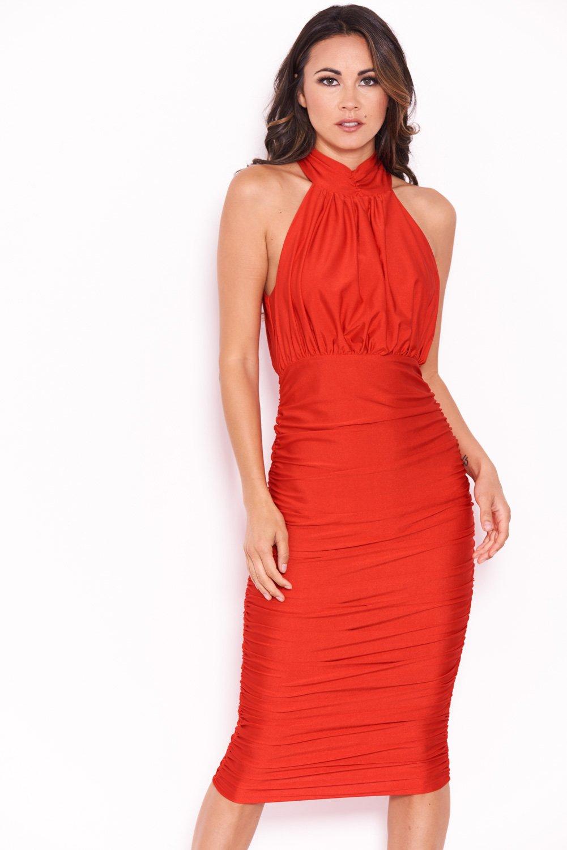 Ax paris red bodycon dress for women england long sleeve
