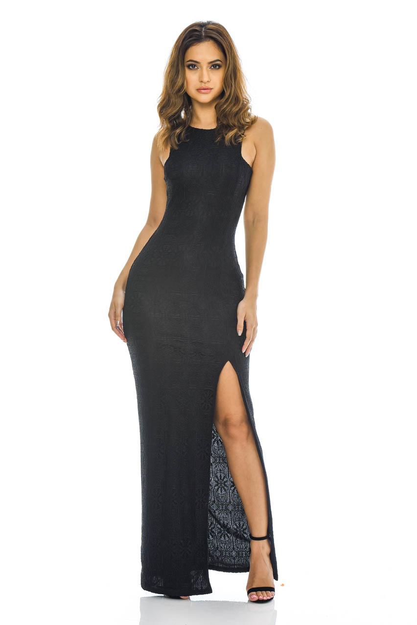 AX Paris Womens Crochet Lace Fish Tail Maxi Dress 91a64ae65