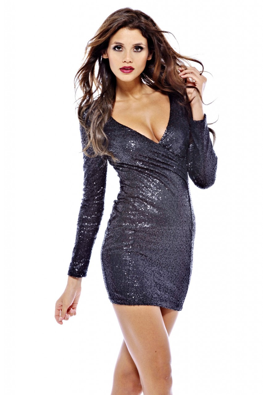 bade83df1ee AX Paris Womens Black Sequin Mini Dress