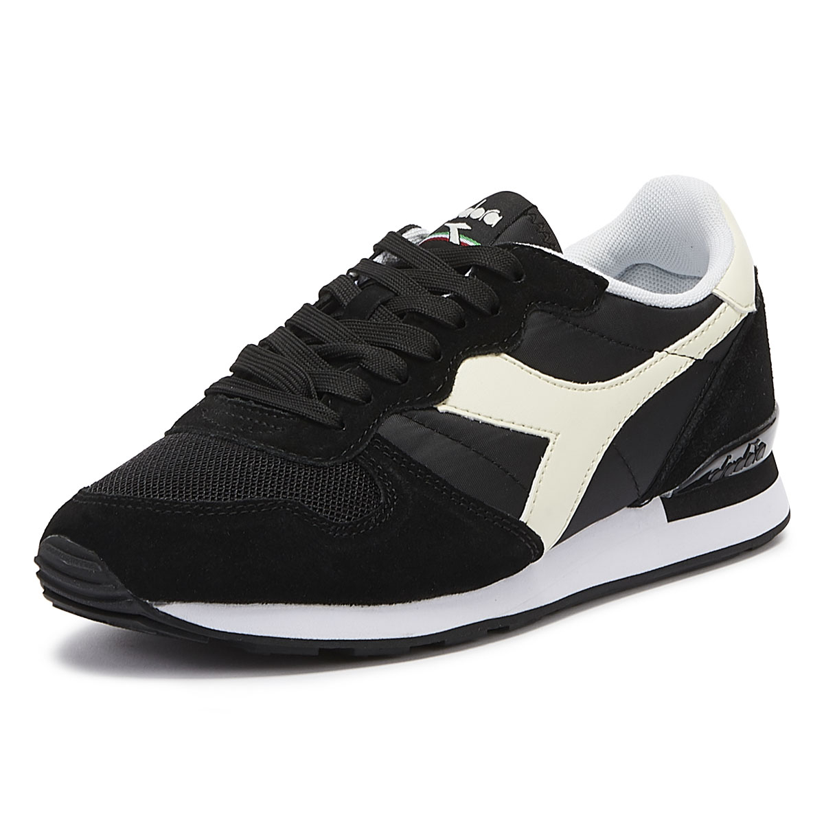f85cbb01 Details about Diadora Camaro Mens Black / White Trainers Lace Up Sport  Casual Shoes