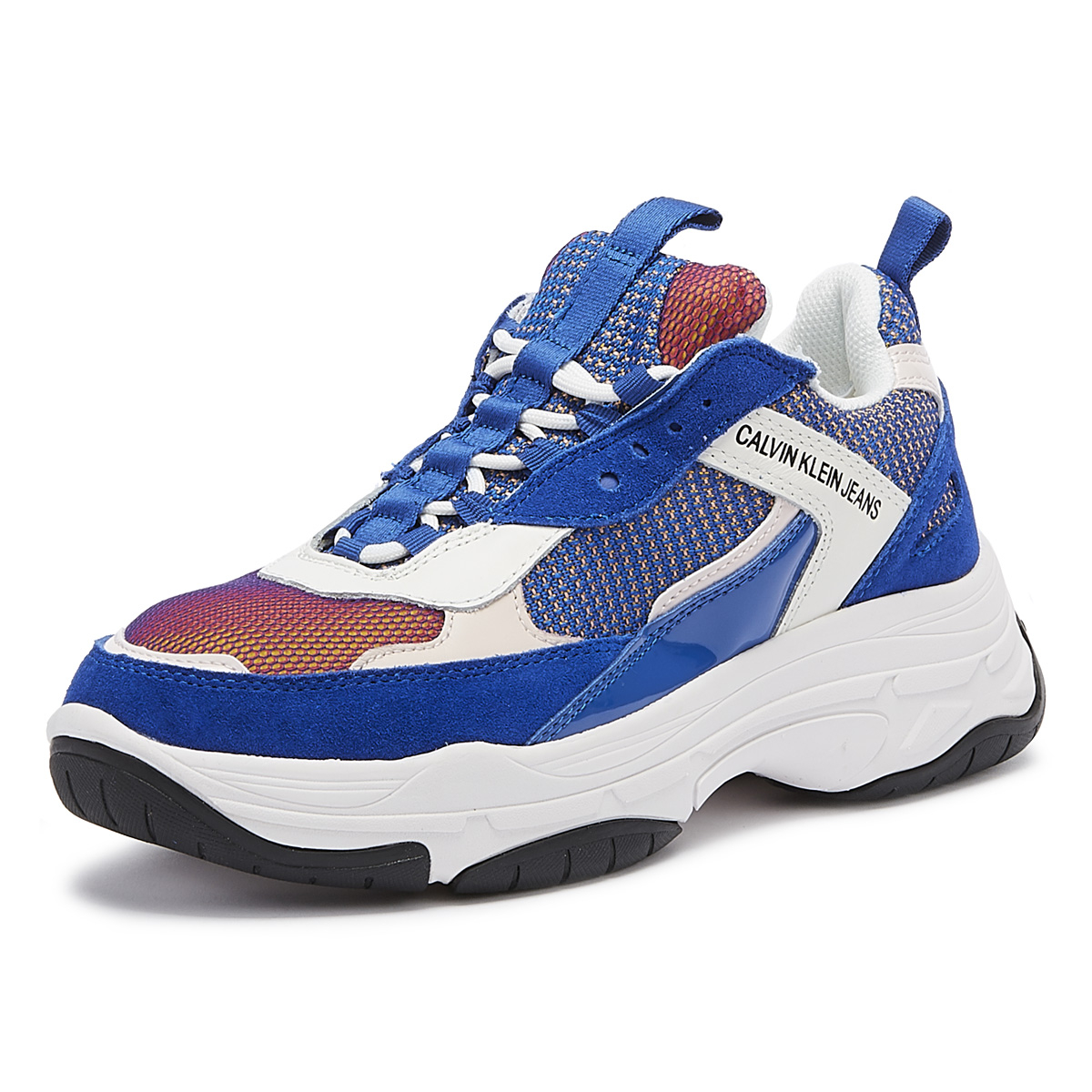 c6a2ef95570 Details about Calvin Klein Jeans Maya Womens Blue Trainers Sport Casual  Ladies Shoes