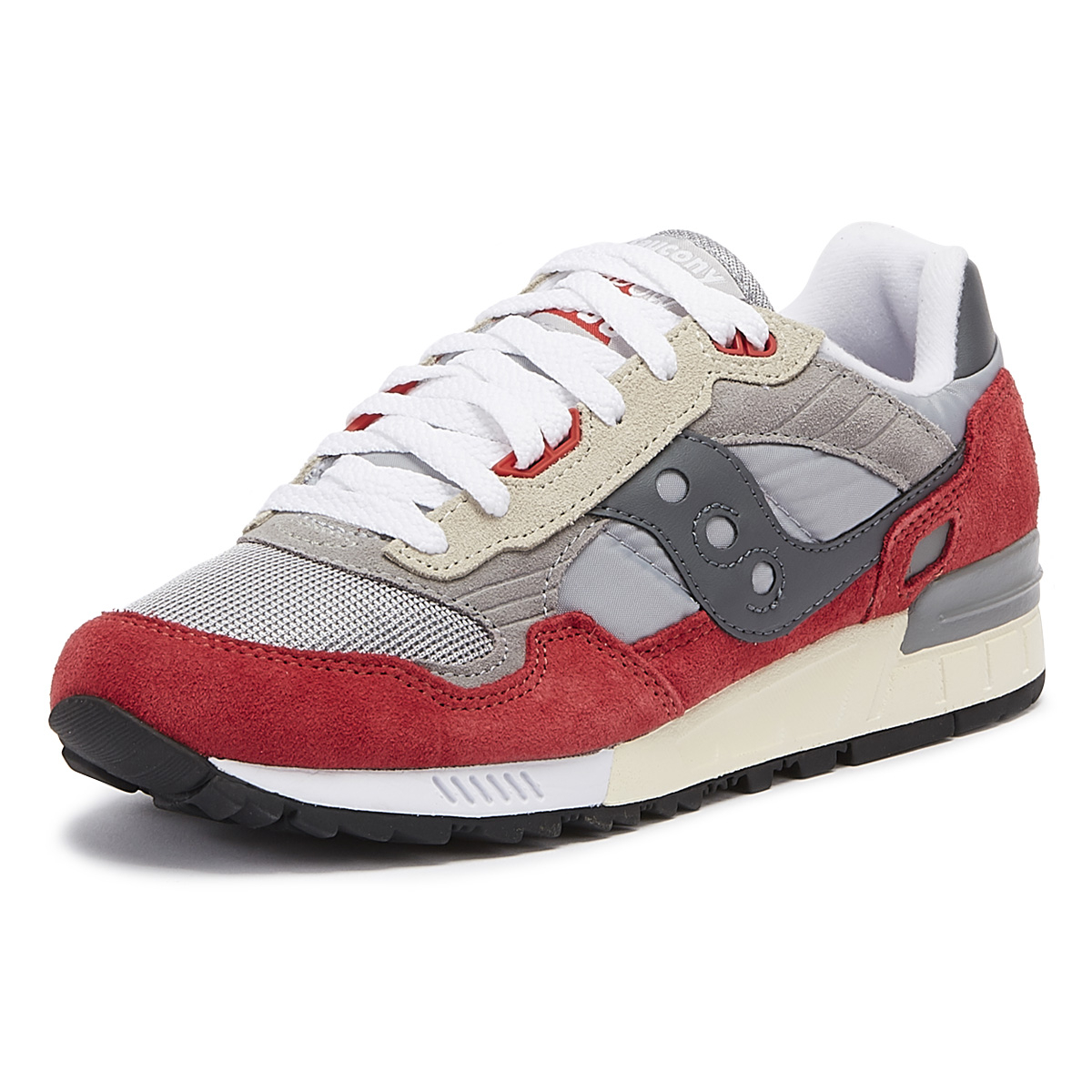 reputable site bea70 71aa7 Details about Saucony Shadow 5000 Vintage Grey / Red Trainers Sport Casual  Lace Up Shoes