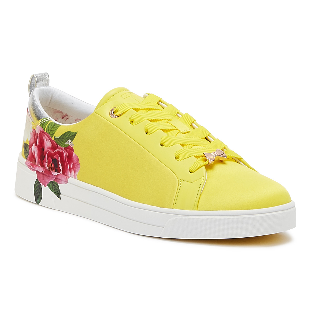 Details about Ted Baker Rialy Magnificent Womens Yellow Satin Trainers Sport Casual Shoes