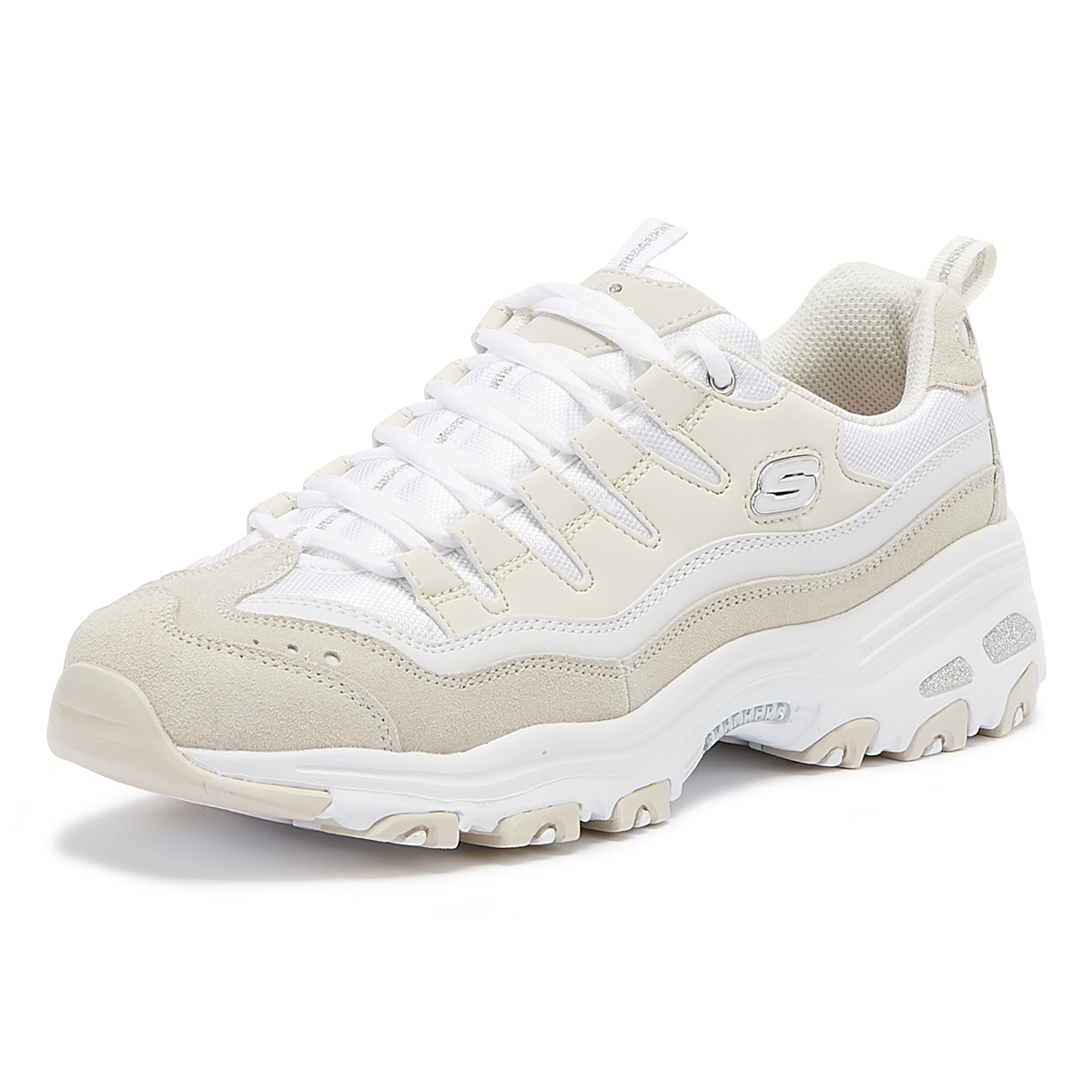b97dc921435fe Skechers D'Lites Sure Thing Womens White & Natural Trainers Ladies Casual  Shoes