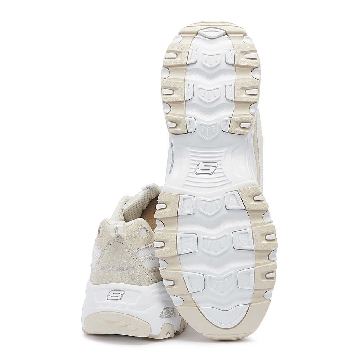 f1bac027997d6 Skechers D'Lites Sure Thing Womens White & Natural Trainers Ladies ...