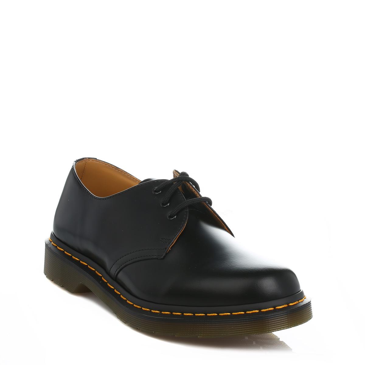 Dr-Martens-Noir-1461-Cuir-Lisse-Chaussures-a-lacets-Smart-Casual-Style