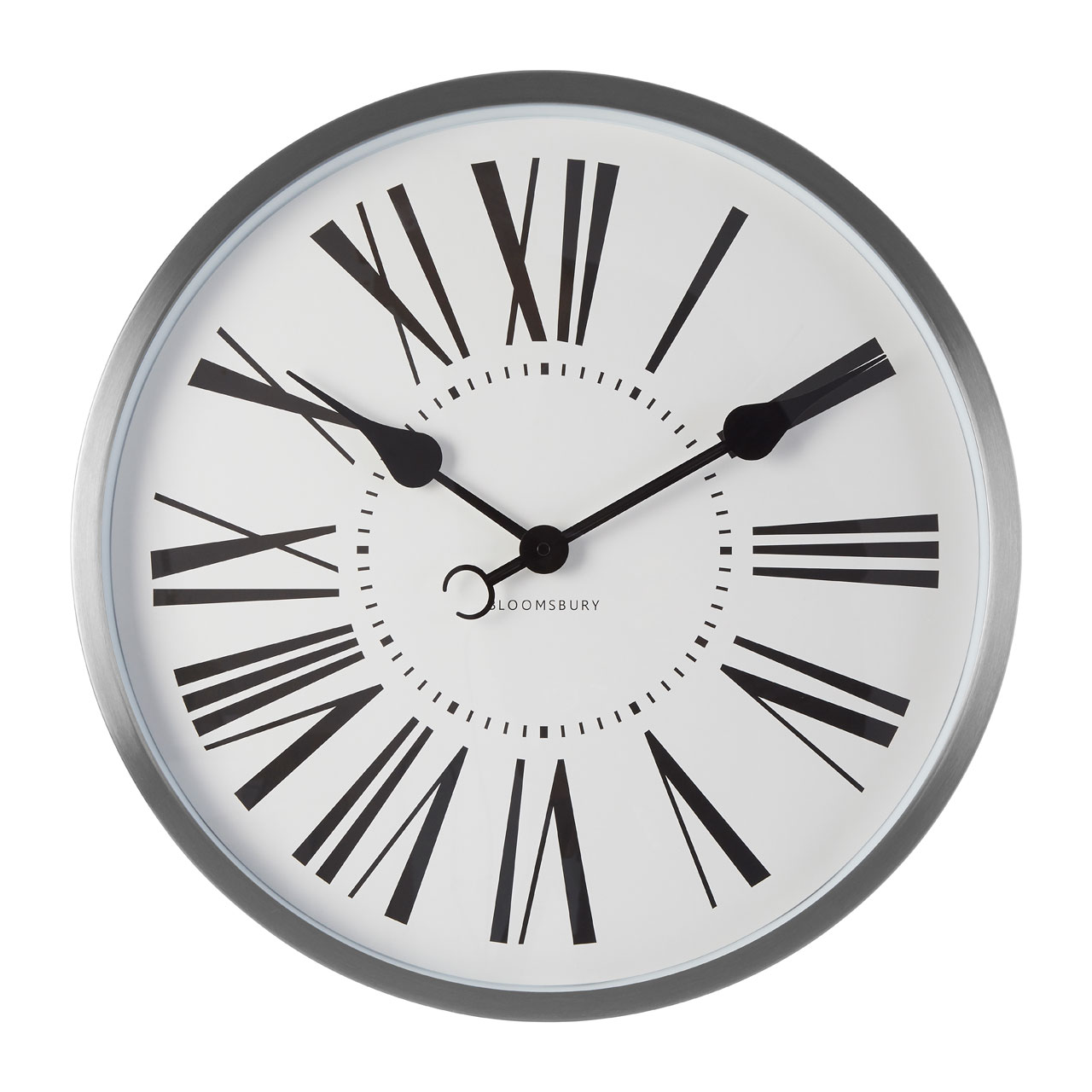 Details About Baillie Round Wall Clock Chrome White Face Og Roman Numerals
