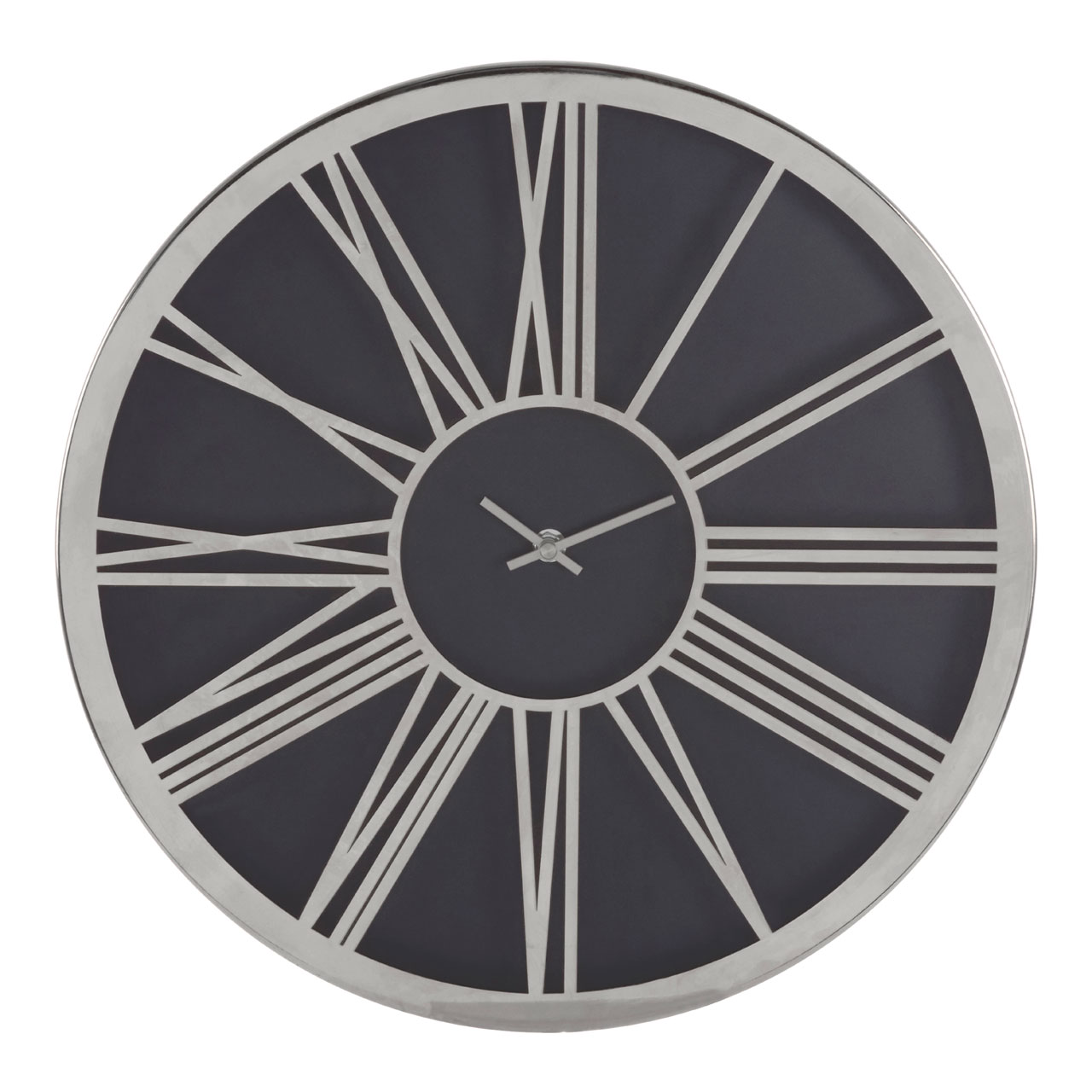 Details About Baillie Round Wall Clock Black Face Chrome Og Roman Numerals