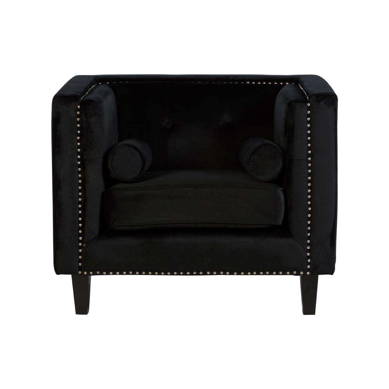Felisa Chair Black Velvet Stud Detail Living Room Armchair Furniture 5018705408842 Ebay
