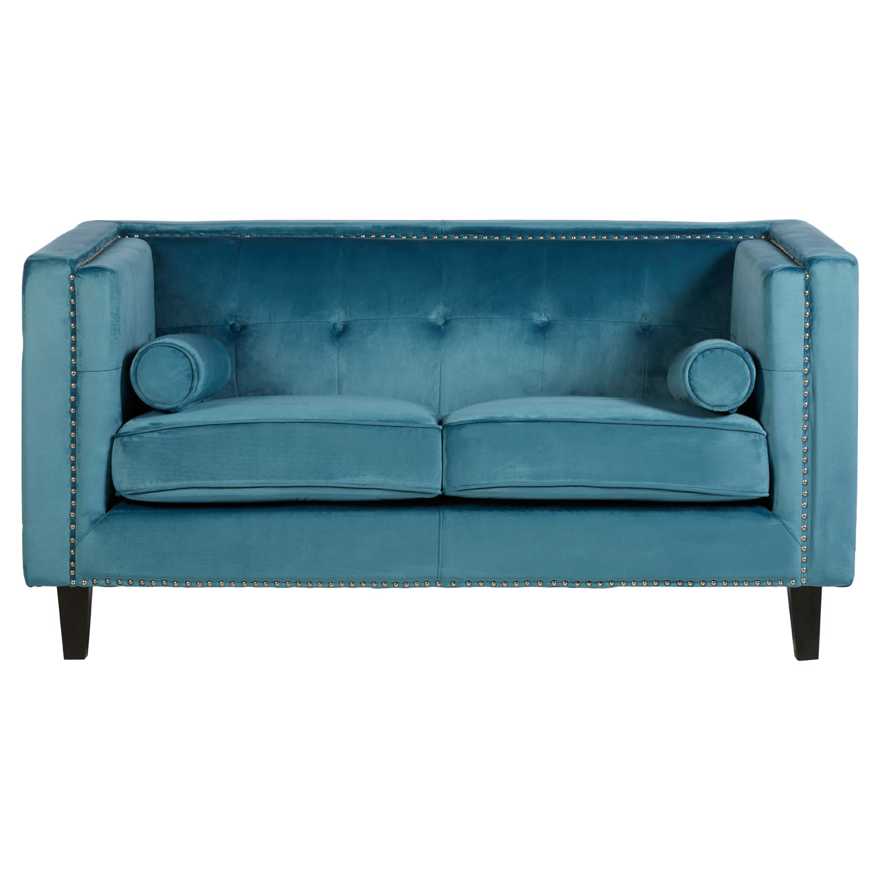 Magnificent Details About Felisa 2 Seat Sofa Blue Velvet Stud Detail Couch Home Furniture Alphanode Cool Chair Designs And Ideas Alphanodeonline