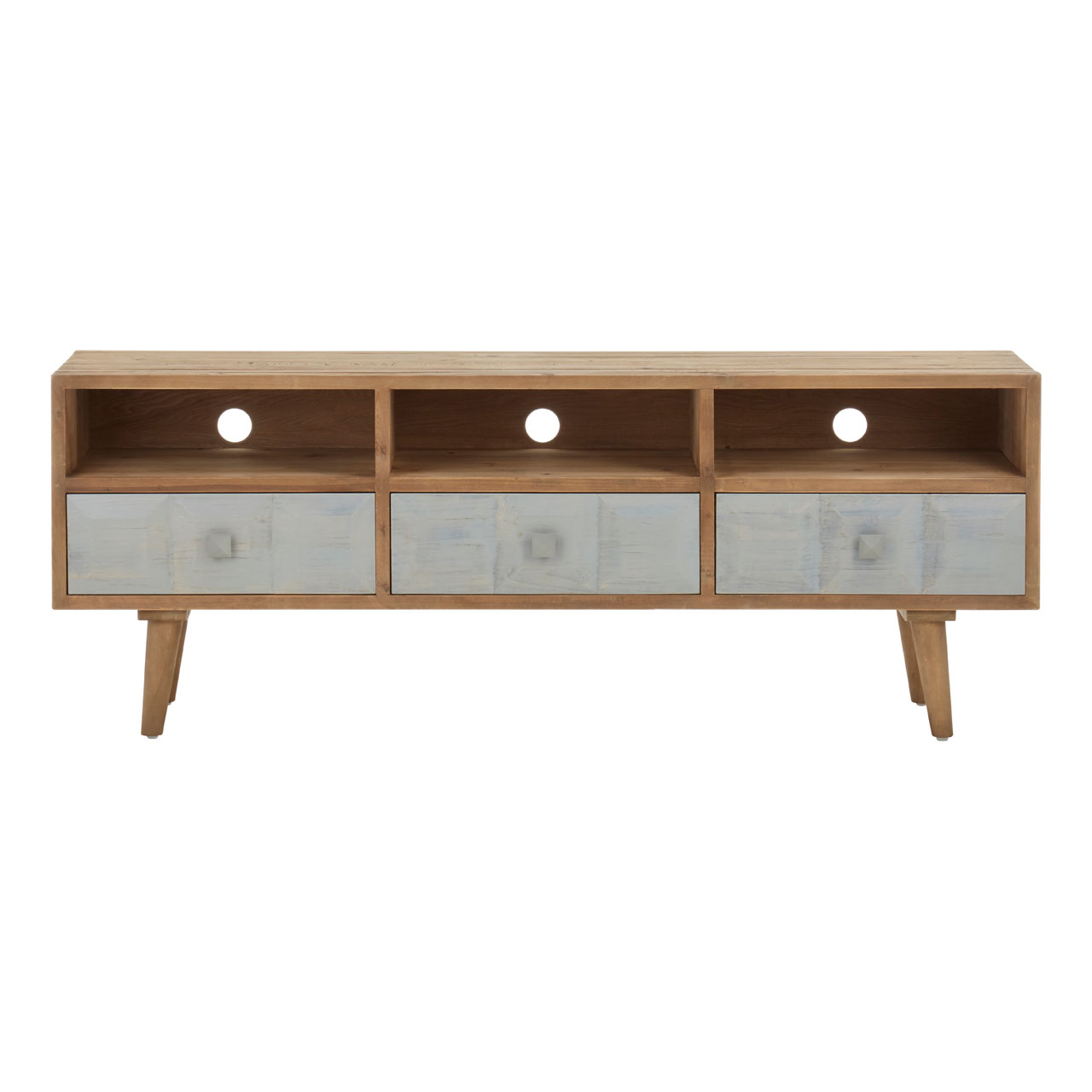 Papua Whitewash Media Unit 3 Drawers Recycled Pine Wood Living