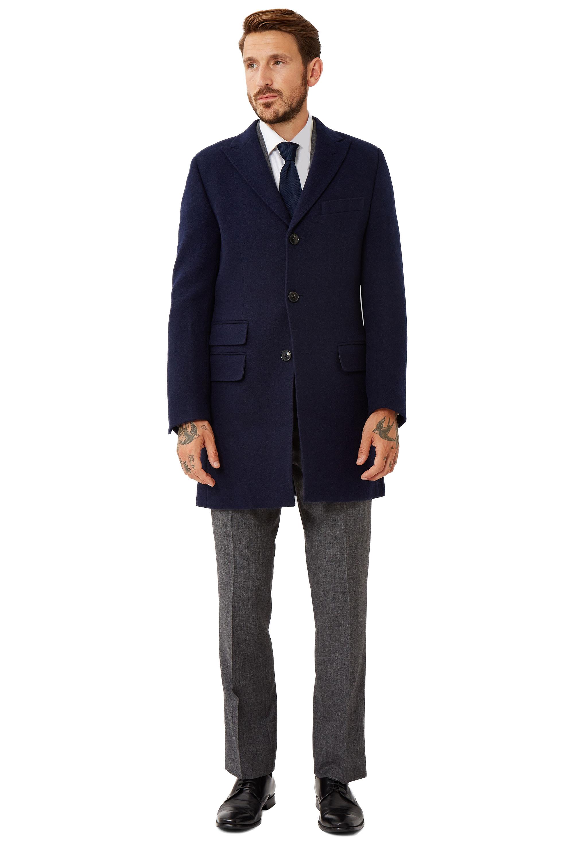 Favorite Moss 1851 Mens Navy Blue Overcoat Tailored Fit Wool Jacket Single  IB77