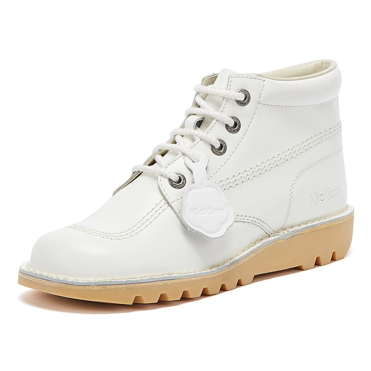 Kickers Kick Hi White Leather Boots