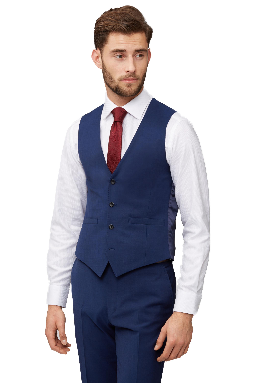 41c5f458de Moss 1851 Mens Blue Waistcoat Tailored Fit Single Breasted Formal Suit Vest