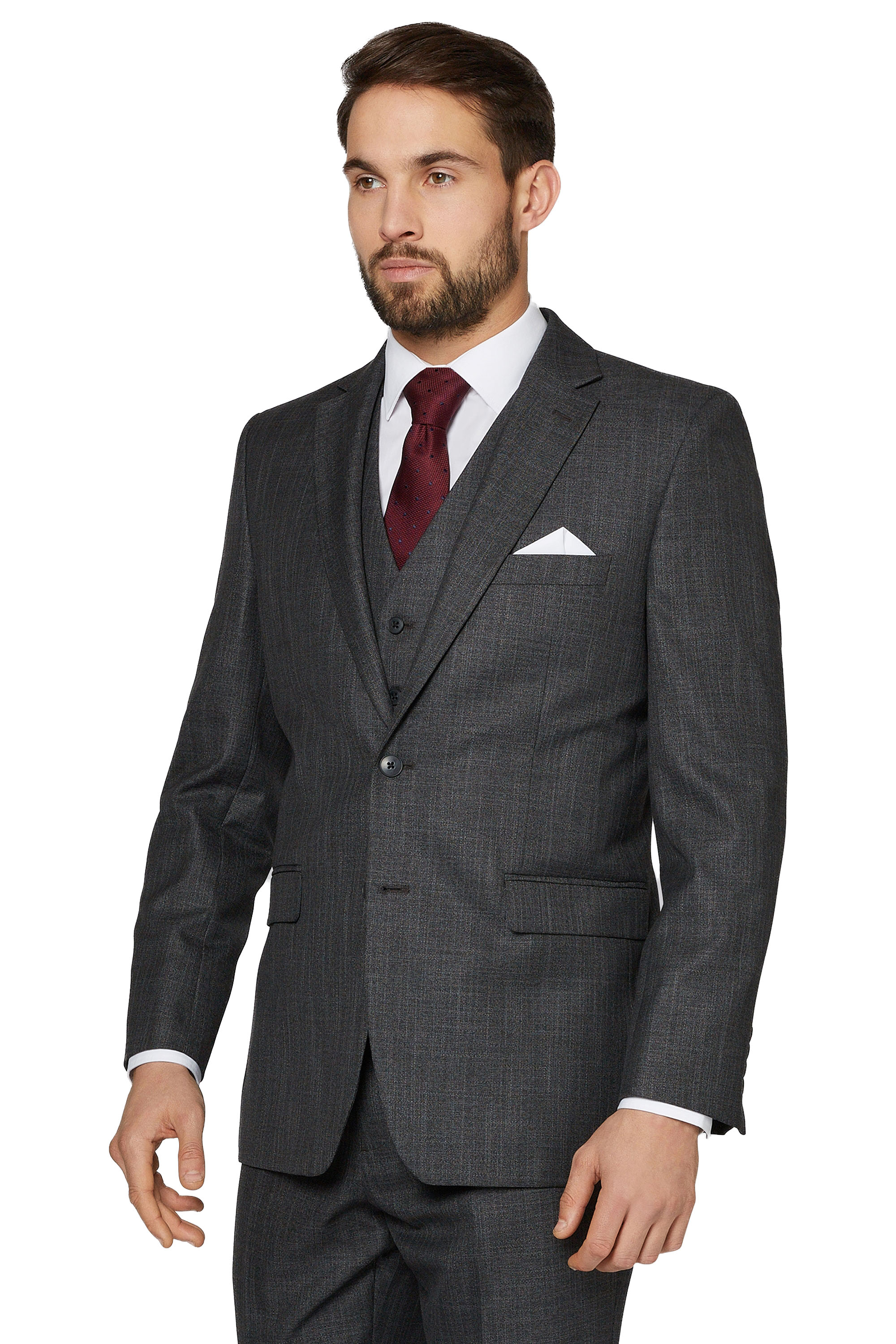 Moss Esq. Mens Suit Jacket Regular Fit Charcoal Grey Sharkskin Two ...
