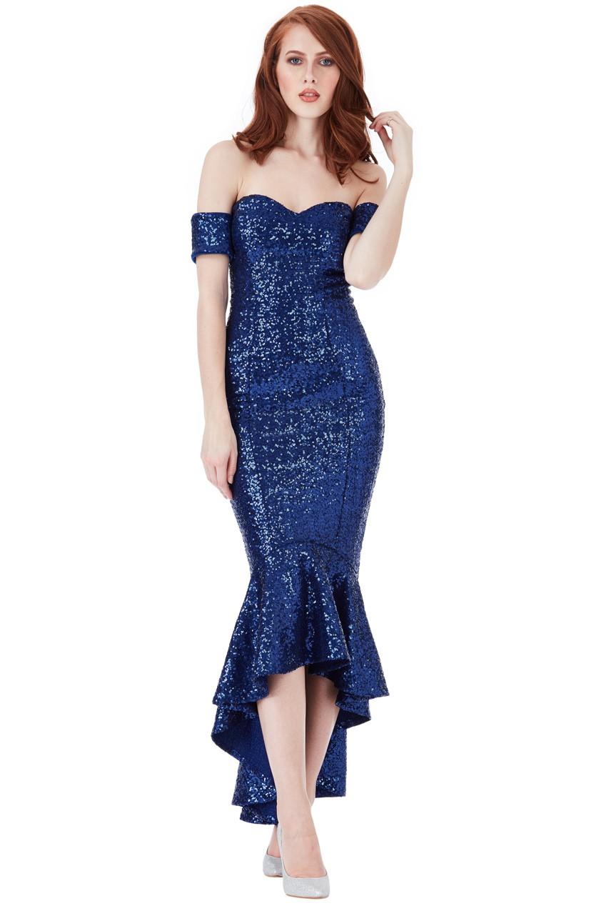 91c9dee0b180 Details about Goddiva Womens Sequin Bardot Peplum Maxi Dress, Royal Blue,  Ladies Evening Wear