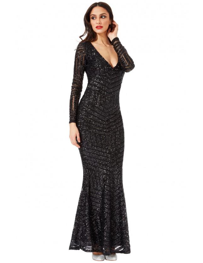 f6a2894d41f Goddiva Womens Long Sleeved Open Back Sequin Maxi Dress, Black, Evening Wear