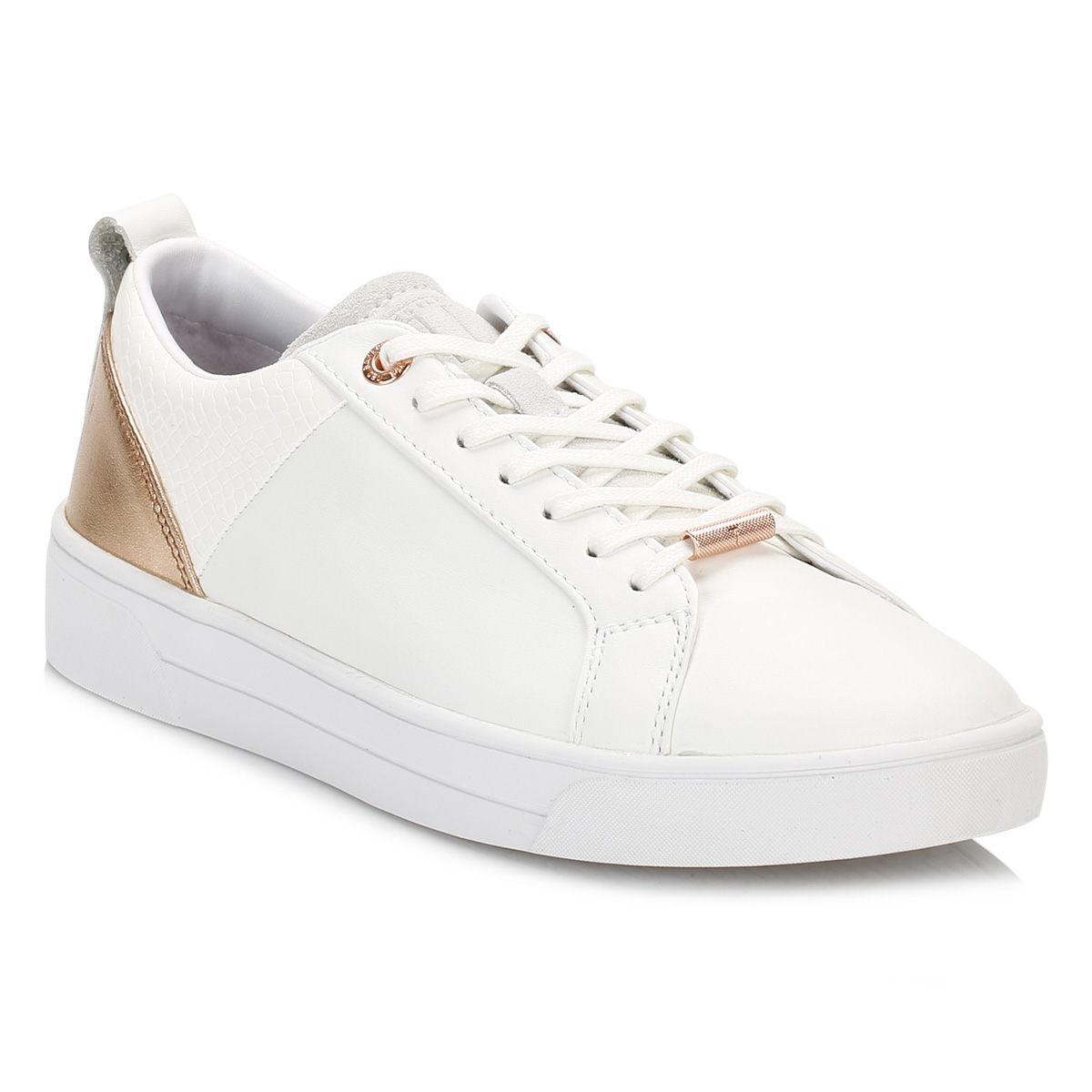e84f8faffe9f Ted Baker Womens Trainers White Rose Gold Kulei Stylish Shoes Casual ...
