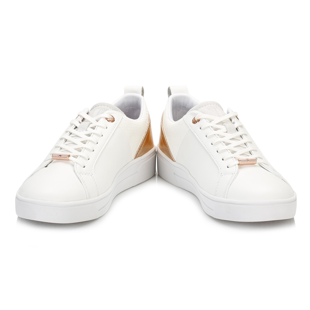 f8df9c1307938b Ted Baker Womens Trainers White Rose Gold Kulei Stylish Shoes Casual Flats