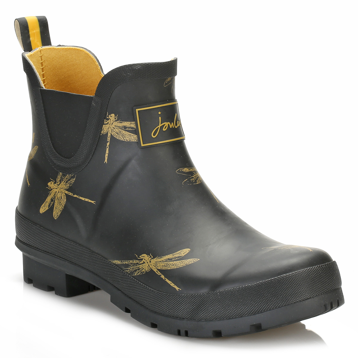 joules womens wellington boots black rubber dragonfly