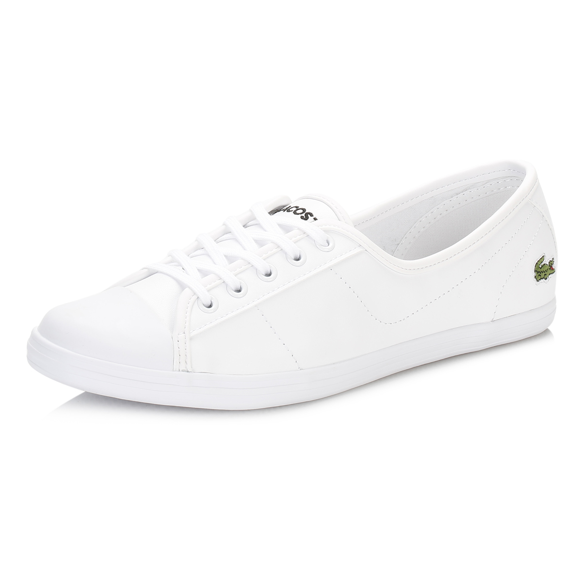 17dd501b7e4a Details about Lacoste Womens Trainers White Ziane BL 1 SPW Leather Lace Up Shoes  Casual Flats