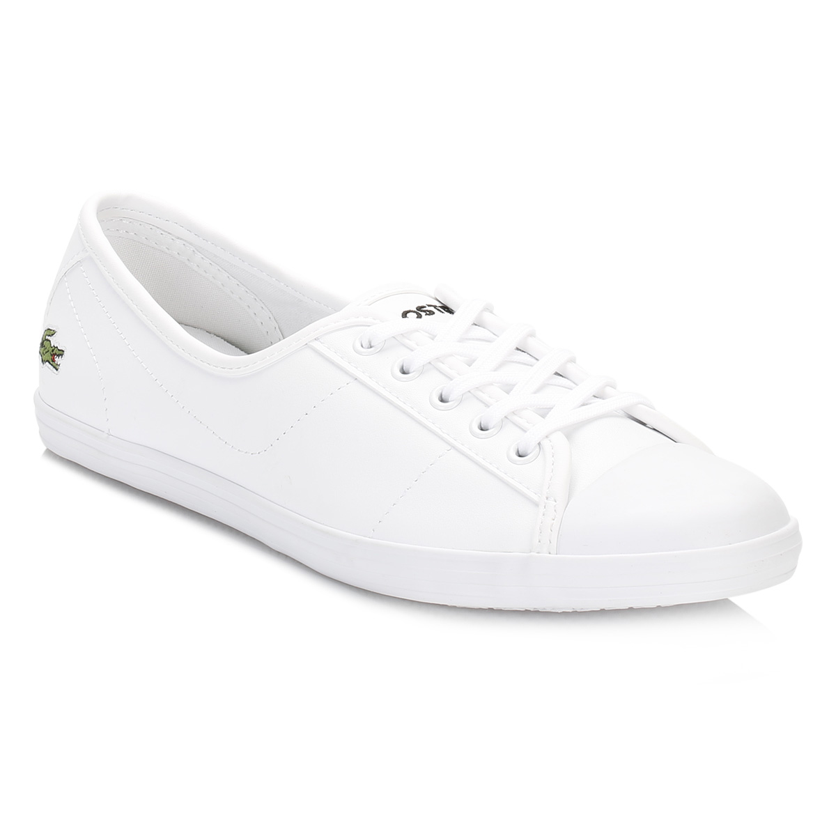 05f1e184b144 Lacoste Womens Trainers White Ziane BL 1 SPW Leather Lace Up Shoes Casual  Flats