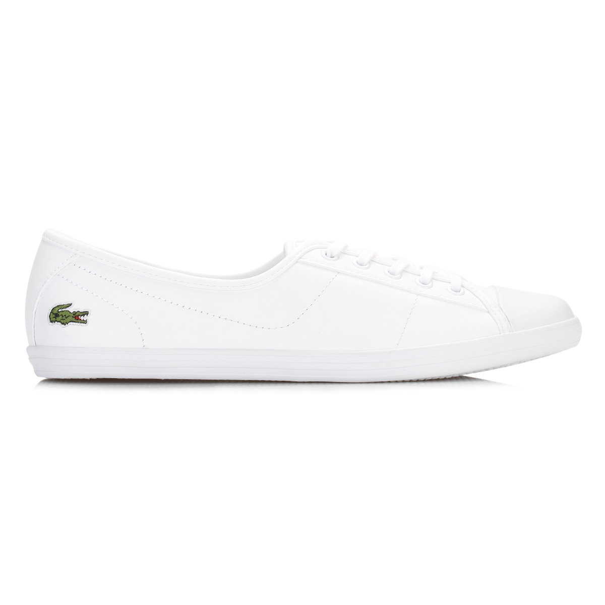81850d4ecc2c8 Lacoste Womens Trainers White Ziane BL 1 SPW Leather Lace Up Shoes ...