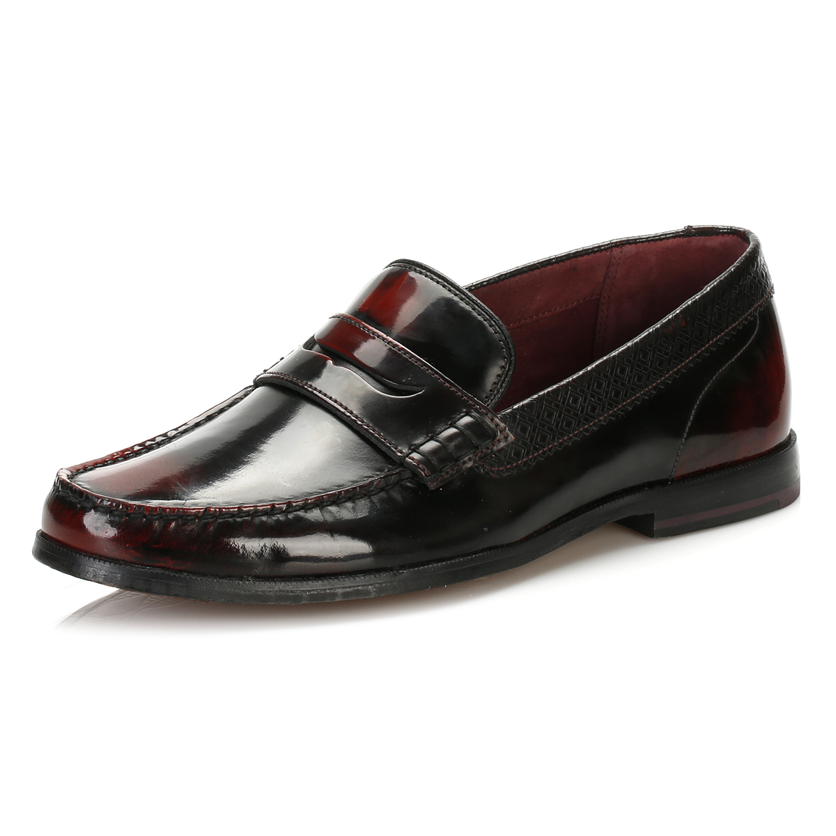 d8d6349955ef6 Details about Ted Baker Mens Formal Shoes Dark Red Leather Rommeo Loafers  Slip On Smarts