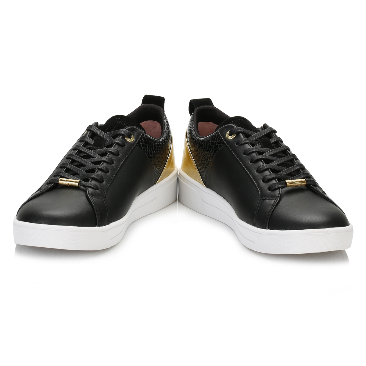 5917f82d26b8f0 Ted Baker Womens Trainers Black Rose Gold Kulei Shoes Lace Up Casual Flats