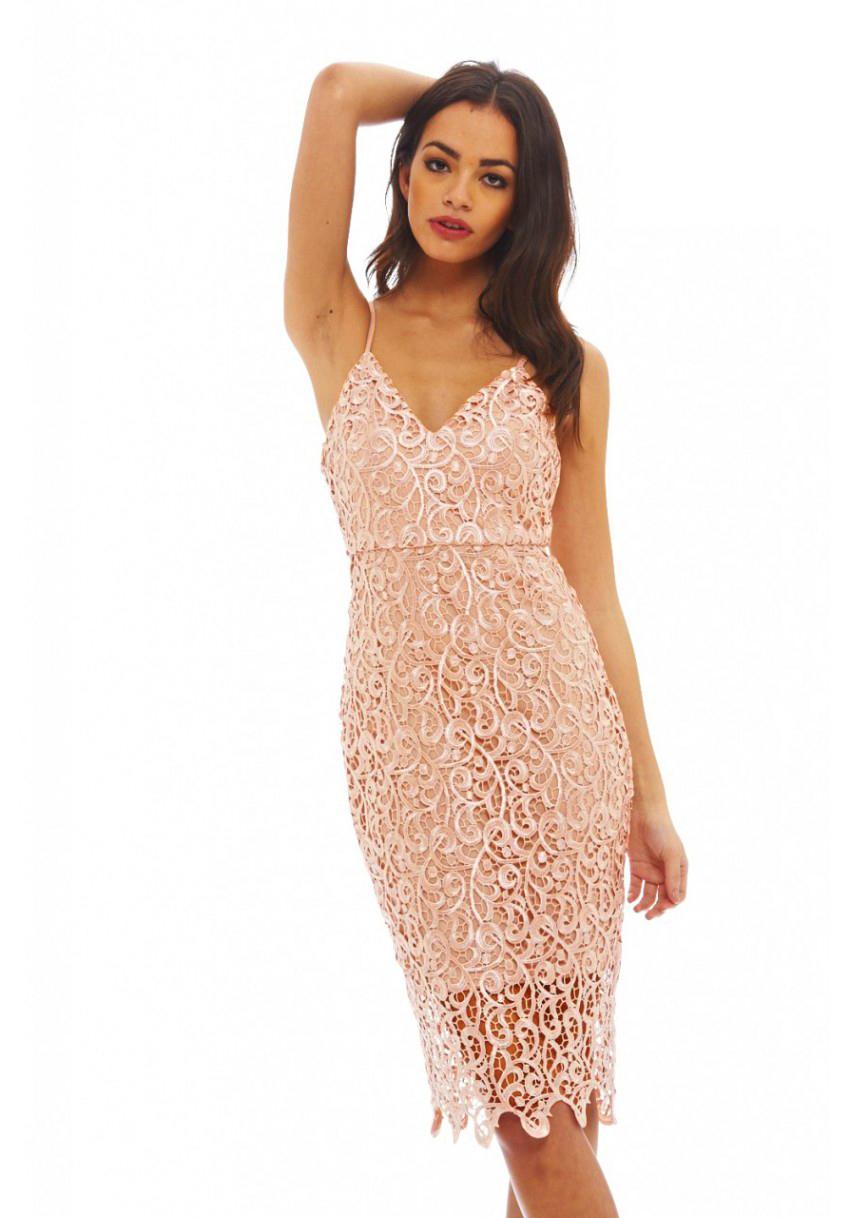 Ax Paris Strappy Lace Dress - Pink AX PARIS mXc8wRId