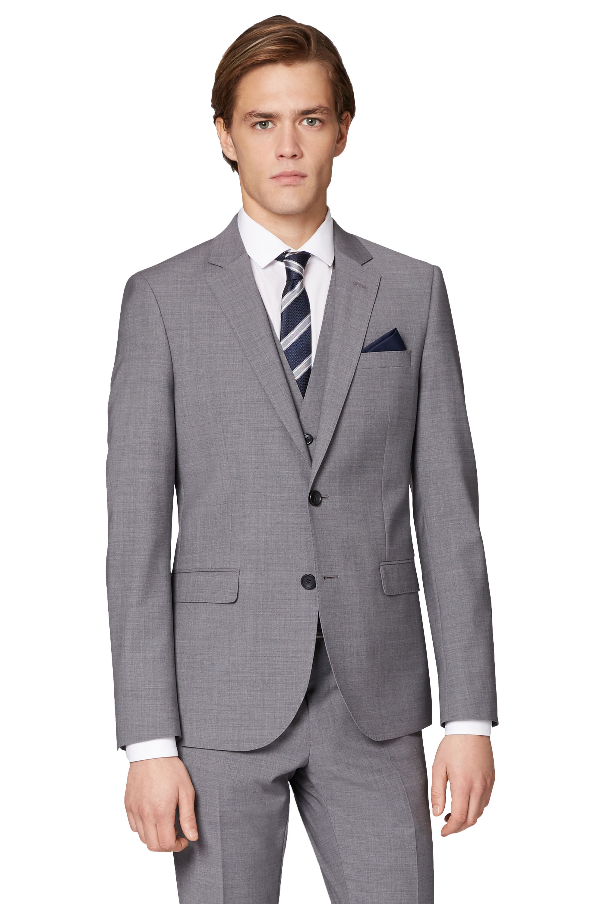 d2dfa1062 Details about Moss London Performance Mens Light Grey Suit Jacket Skinny  Fit Single Breasted