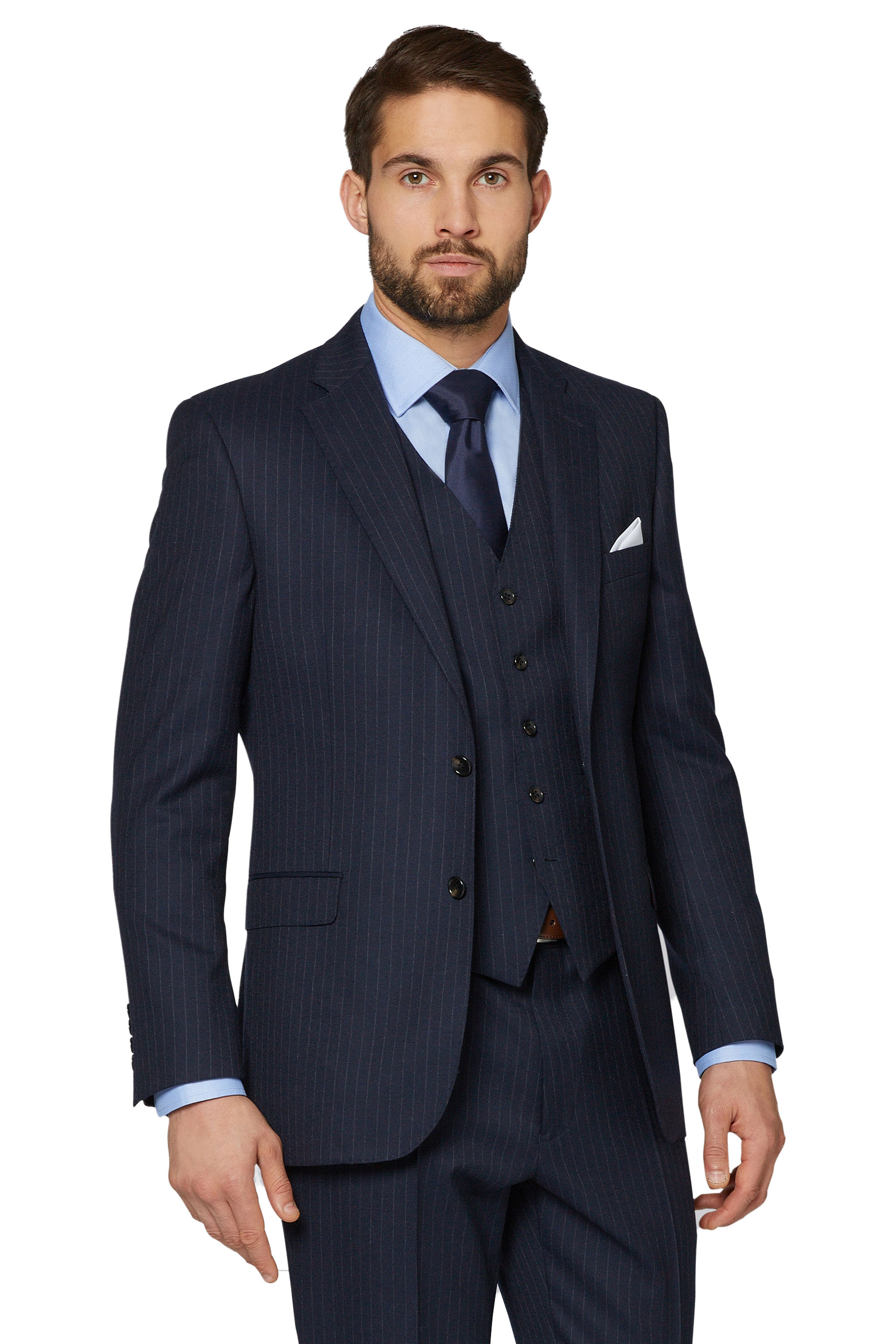 26d7f4227f5d Savoy Taylors Guild Mens Navy Suit Jacket Chalk Striped Regular Fit Pure  Wool