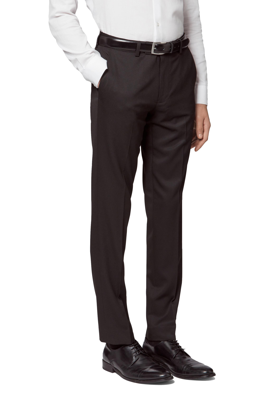 9cdb80119 Moss London Mens Black Tuxedo Trousers Slim Fit Flat Front Suit Pants Formal
