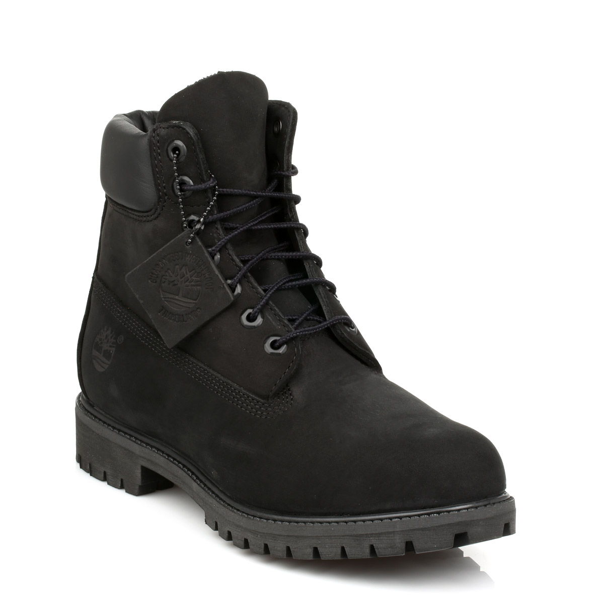 Timberland Mens Black Premium 6 Inch Nubuck Leather Boots Lace Up Winter  Shoes