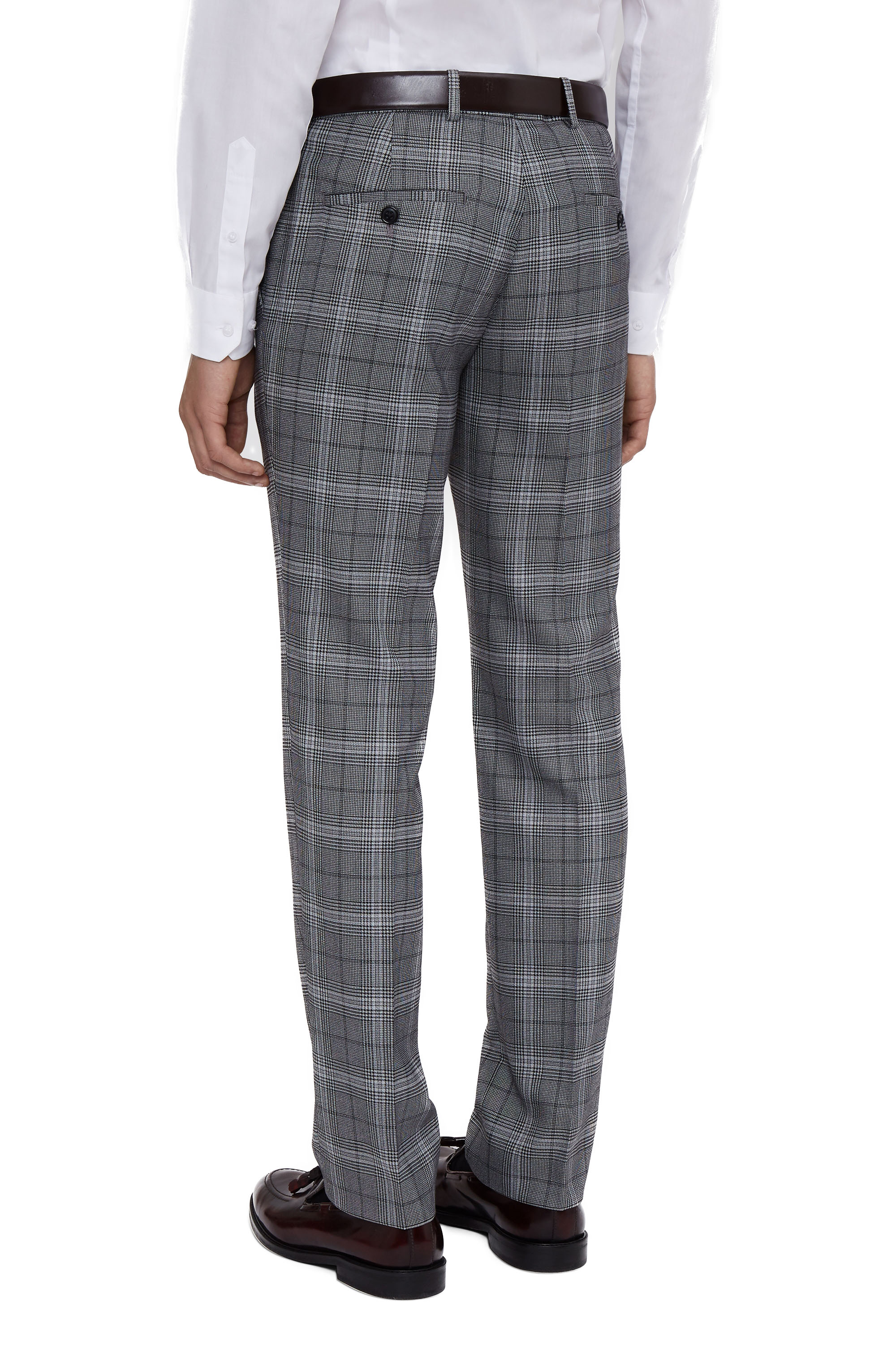 Moss London Mens Check Grey Suit Trousers Skinny Fit Prince Of Wales Pants | EBay
