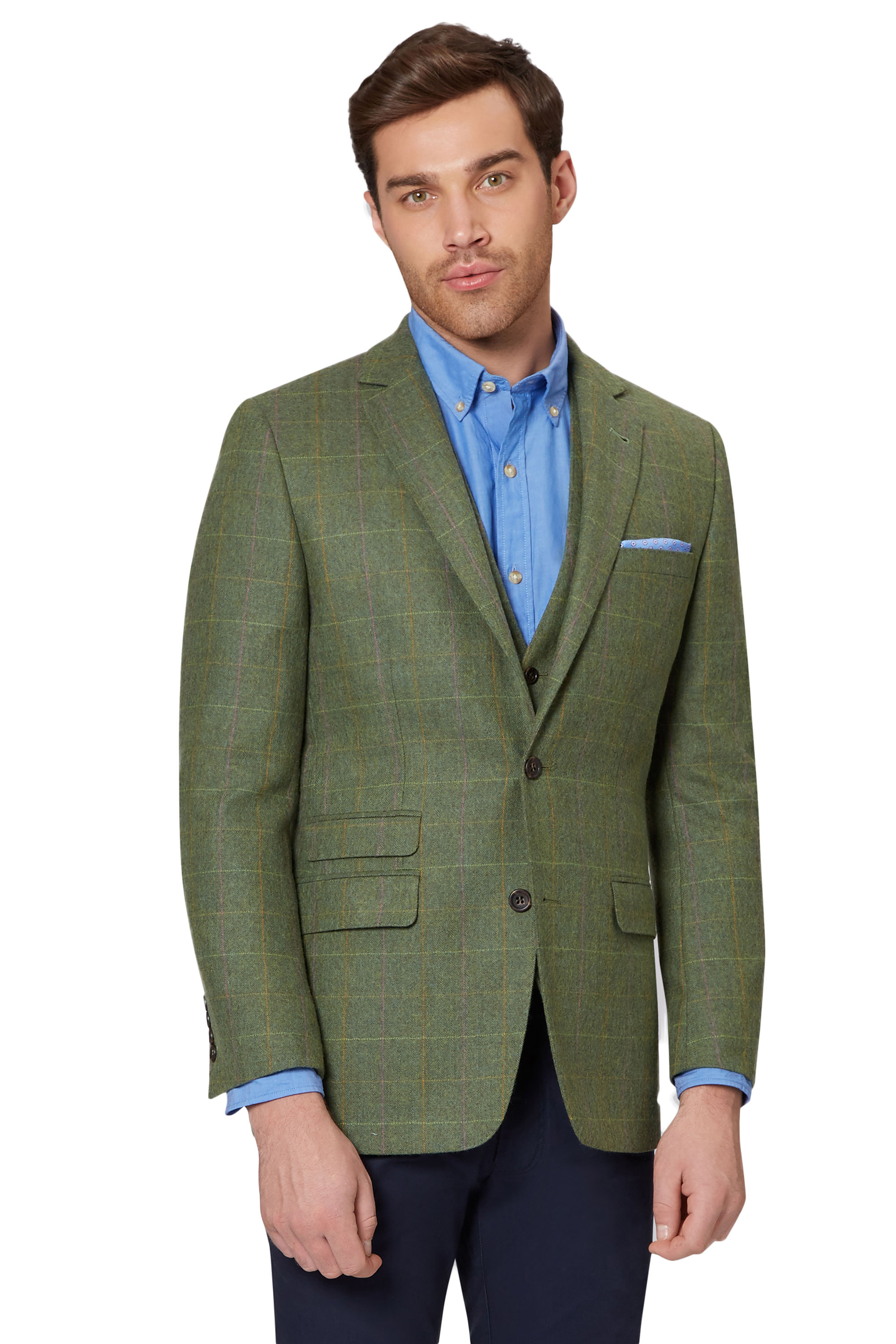Moss 1851 Mens Bright Green Multy Check Suit Jacket Tailored Fit ...