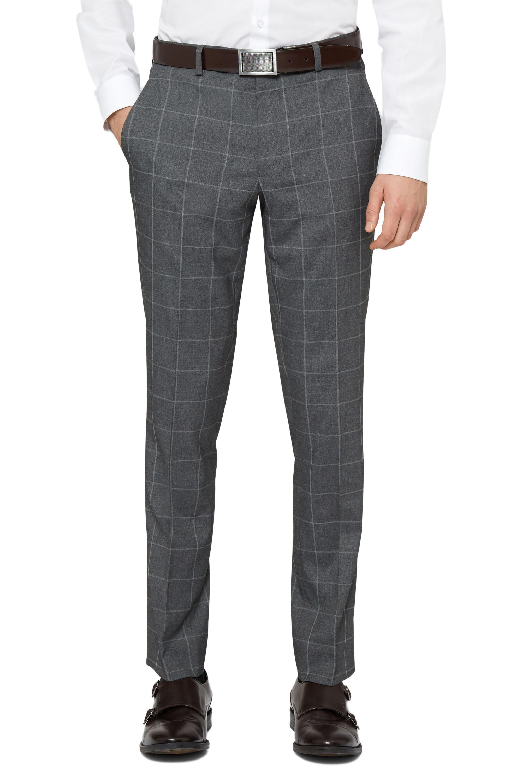 Moss London Mens Check Grey Suit Trousers Skinny Fit Windowpane Pants Formal | EBay