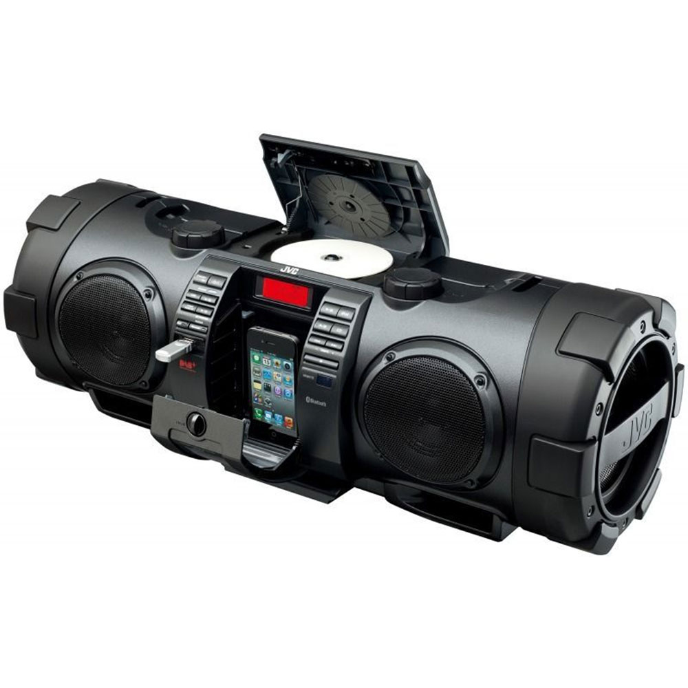 jvc 40w portable boombox cd player lightning dock. Black Bedroom Furniture Sets. Home Design Ideas