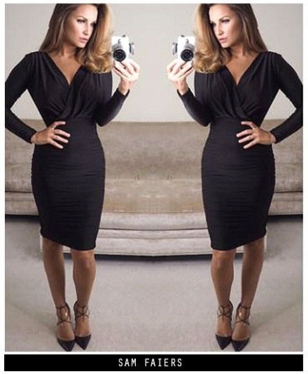 f80481cbd1078 AX Paris Womens V Front Slinky Midi Bodycon Dress, Black, Wrap Front, Casual