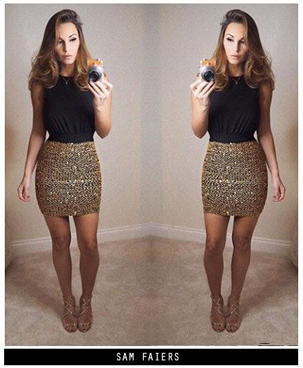 169fa04c3350 AX Paris Womens 2 in 1 Sequin Skirt Mini Dress, Black/Gold, Ladies Evening  Wear