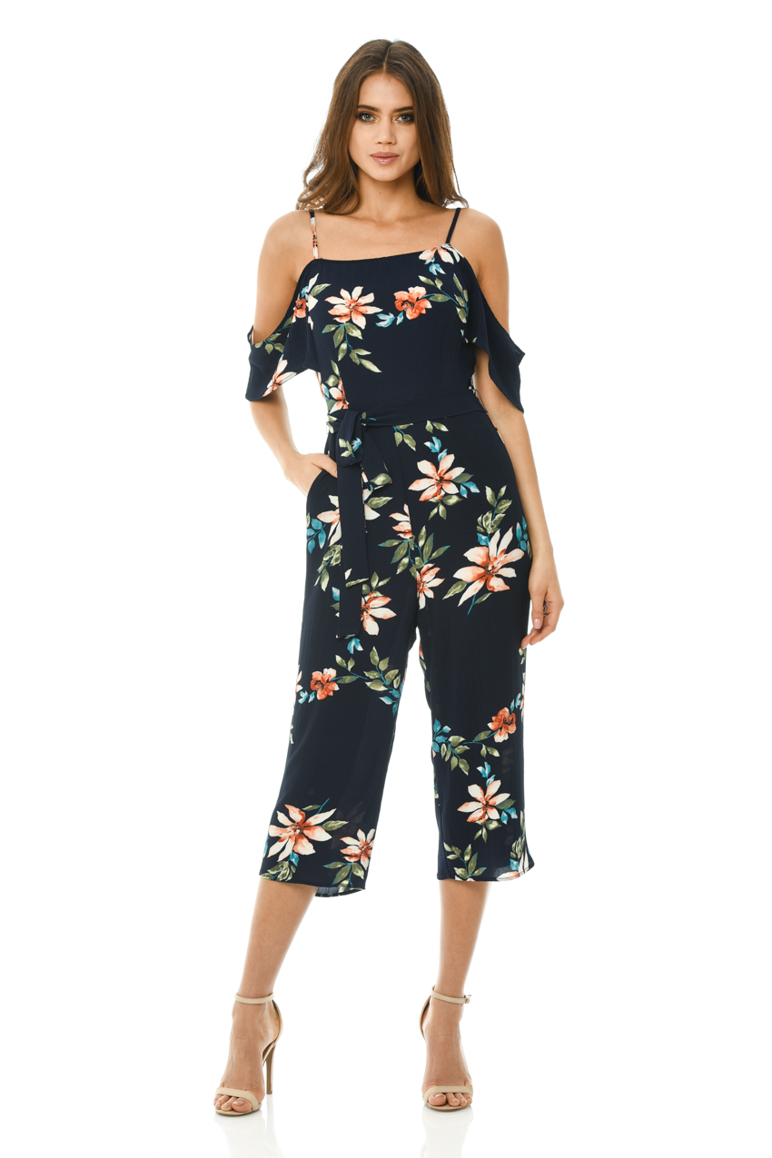 2539ae8dd9fc AX-Paris-Womens-Floral-Printed-Culotte-Jumpsuit-Navy-
