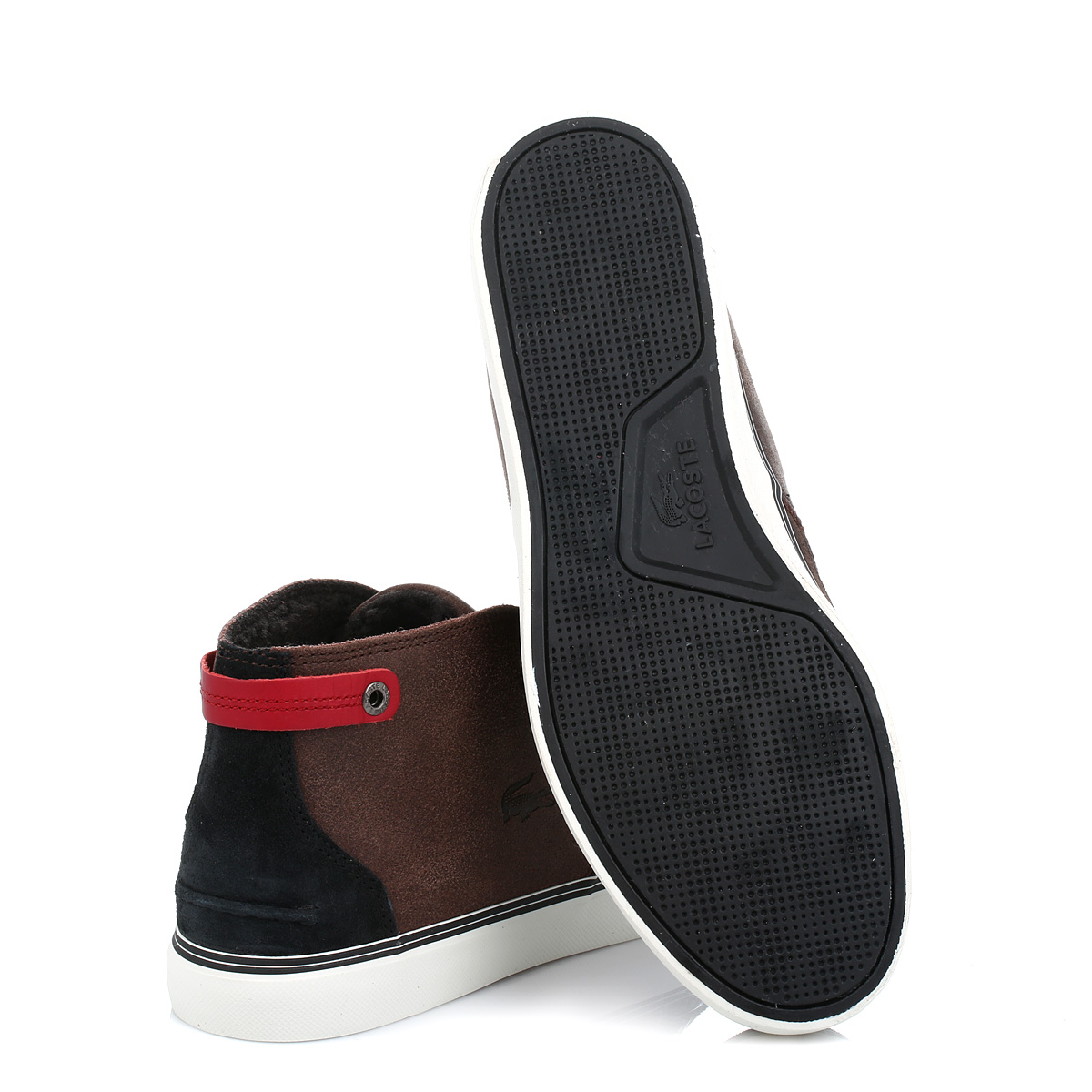 2e51ce62ecdd81 Lacoste Mens Dark Brown Clavel 17 Suede Leather Trainers Lace Up Mid Shoes