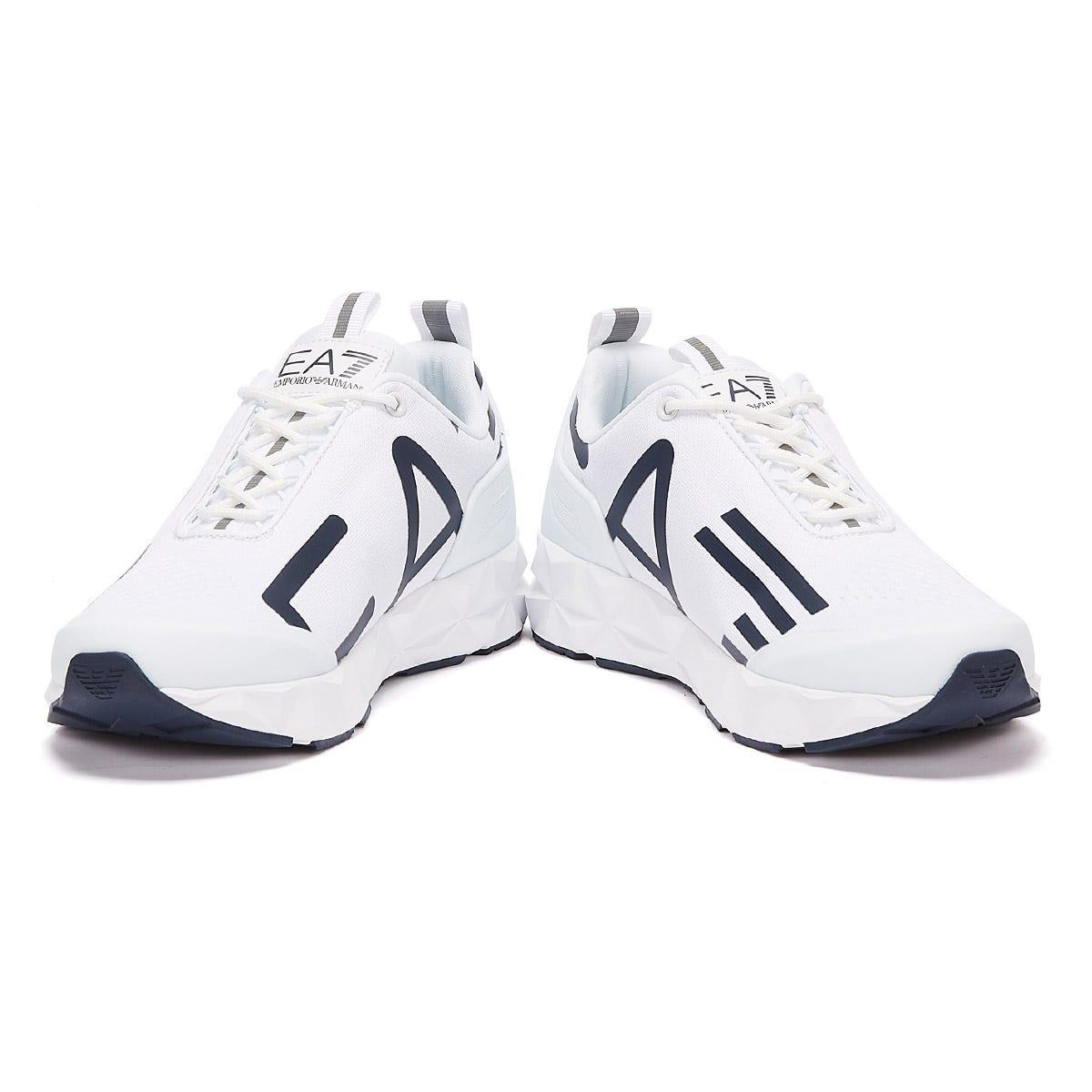 Emporio-Armani-EA7-Ultimate-C2-Kombat-Masculino-Azul-Marinho-Branco-Sapatos-Tenis-Designer miniatura 6