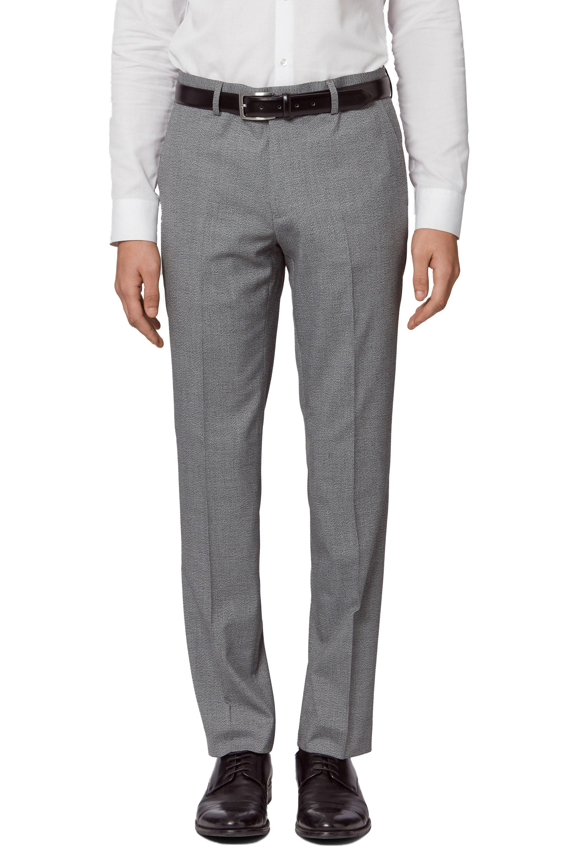 d5777e8f2 Details about Moss London Mens Grey Spotty Suit Trousers Slim Fit Belt  Loops Formal Pants