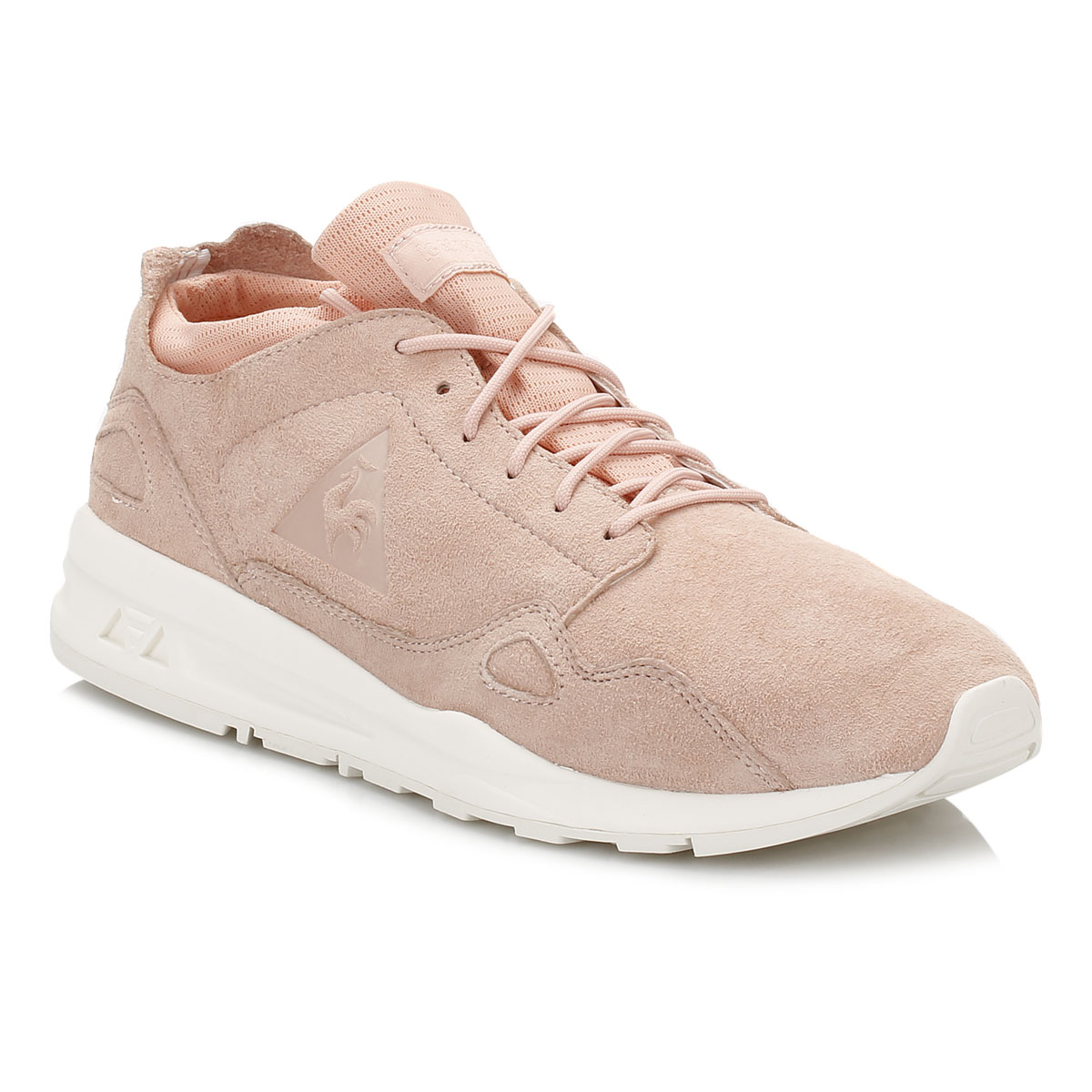 f8c25e037fc Le Coq Sportif Womens LCS R Flow Trainers, Pink or White, Nubuck ...