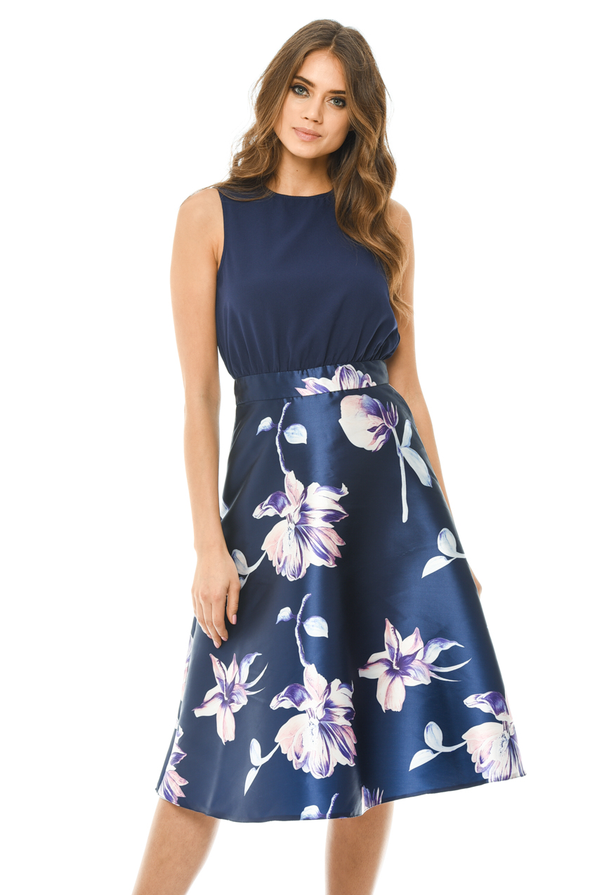 f88529705c1b AX Paris Womens 2 in 1 Navy Blue Midi Skater Dress