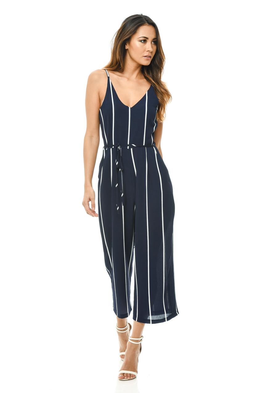 91cb574df33a AX Paris Womens Printed Culotte Jumpsuit, Navy, Waist Band, Ladies Casual  Wear