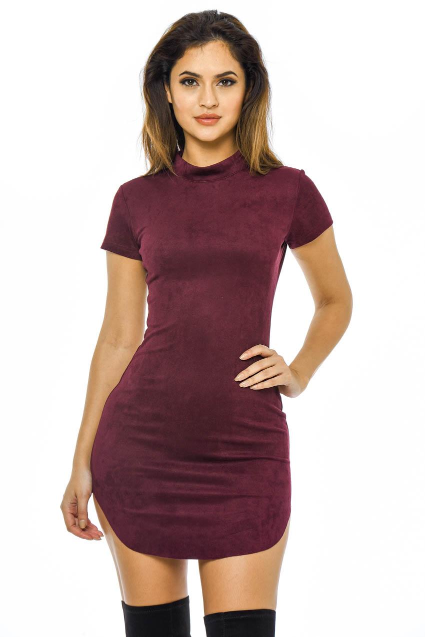 4311ea1e1917 AX Paris Womens Faux Suede Bodycon Mini Dress, Plum, Ladies Casual Wear